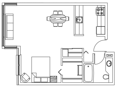 MH bachelor floor plan