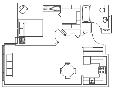 MH one bedroom floor plan