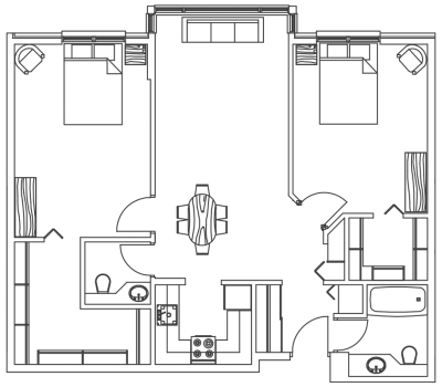 MH two bedroom floor plan